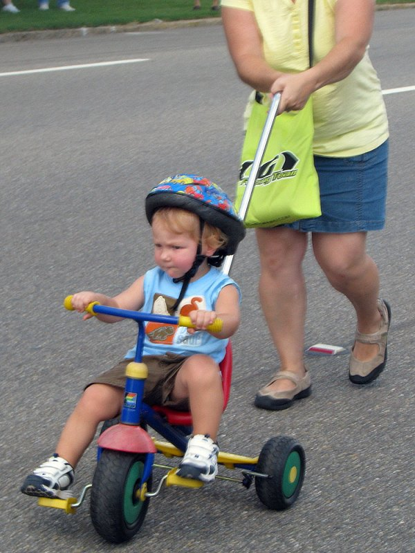 Josiah did well, too, with a little help from Kristine. He was actually pedaling! Usually we have a hard time just getting him to keep his feet on the pedals while Kristine pushes.