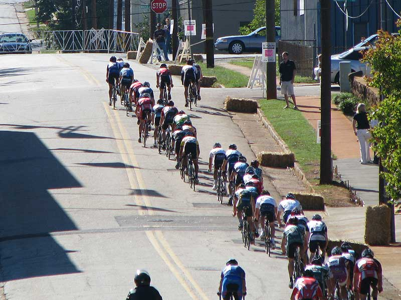 This is all that was left of the 80 person field towards the end of the race plus two guys still off the front