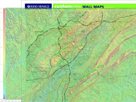 Terrain overlay zoomed into the upper left portion of the map. Colors represent elevations.