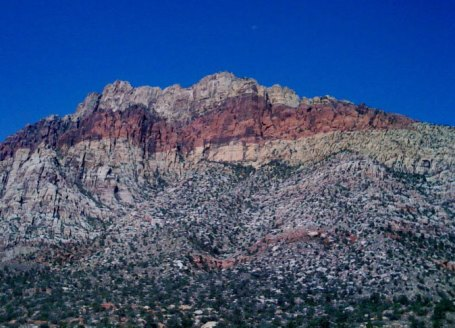Moon rising over Red Rock Canyon