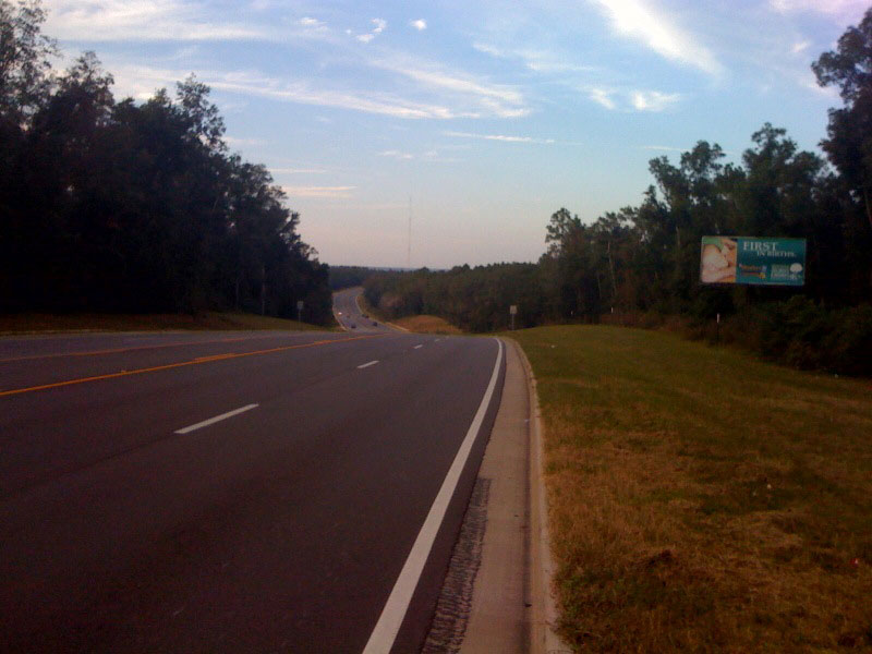 The roads west of Mobile are quite hilly with a number of 100-200 ft ridges crossing the state
