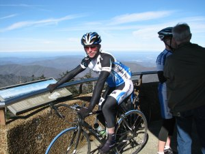 Cyclists at the top of the Clingman Dome's lookout tower