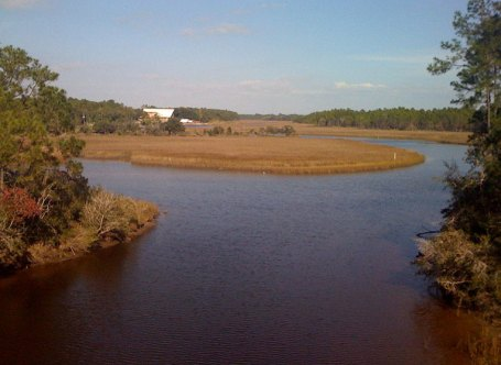 Here is an inland river not too far from the coast