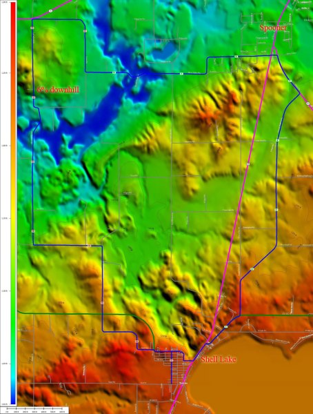 TopoCreator map of the Shell Lake Spooner loop