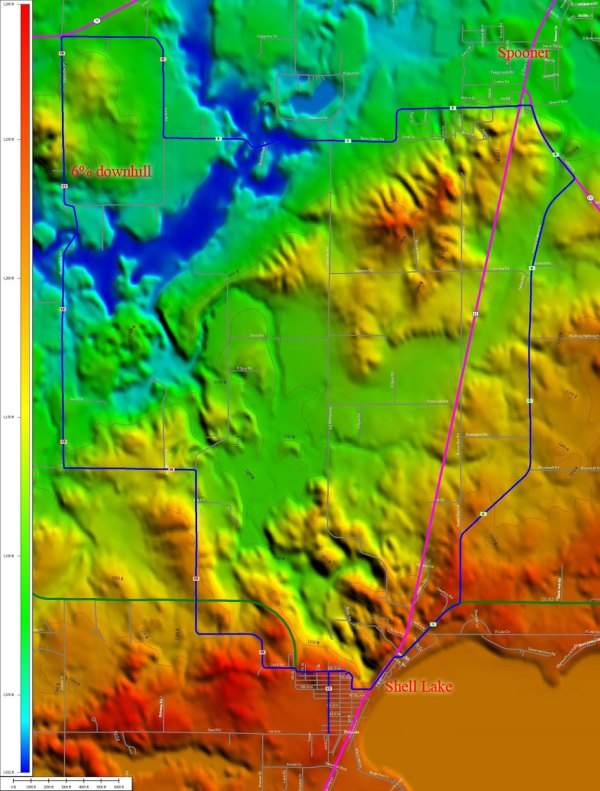 TopoCreator map of the Shell Lake Spooner loop