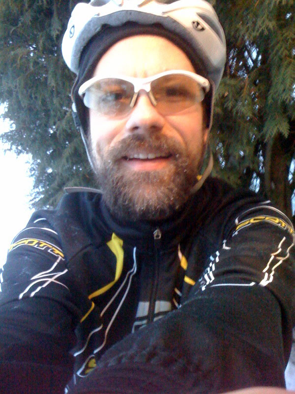 Me after the ride - temps in the mid 20s and a hard slow effort on the mountain bike meant no icicles on the beard