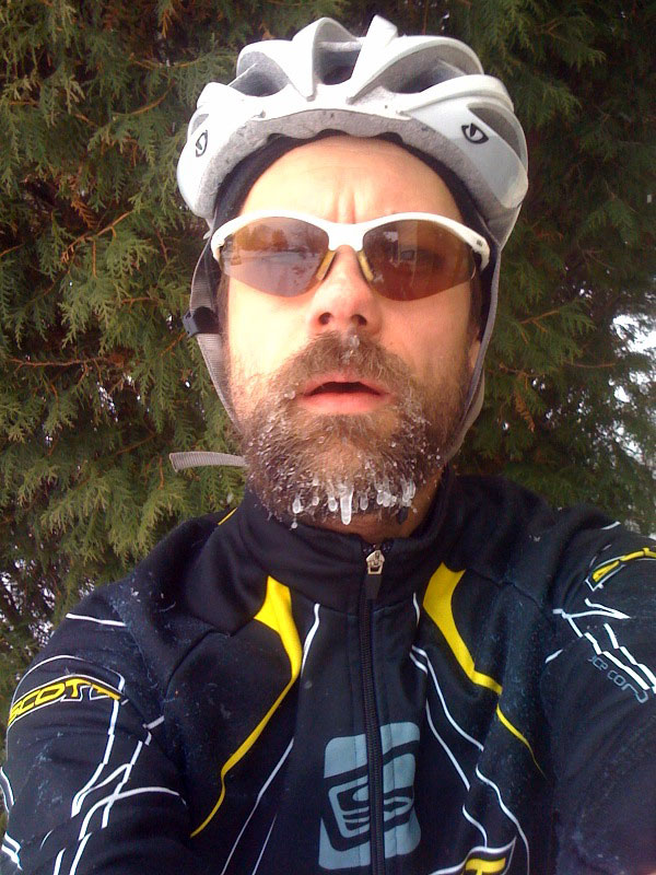 Icicles after 1 hour on the mountain bike