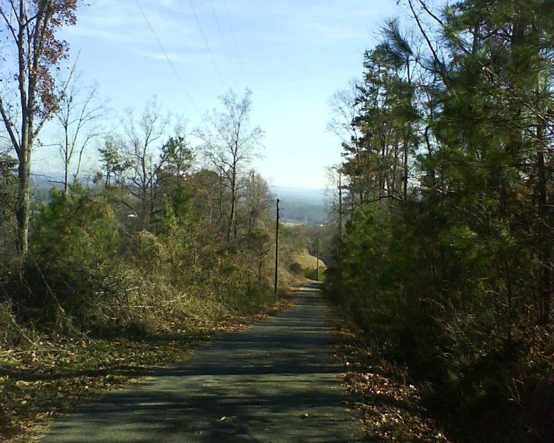 View looking southeast towards Trussville from Turncliff Rd Radio Towers - note the steepness of the road by the angle of the power lines