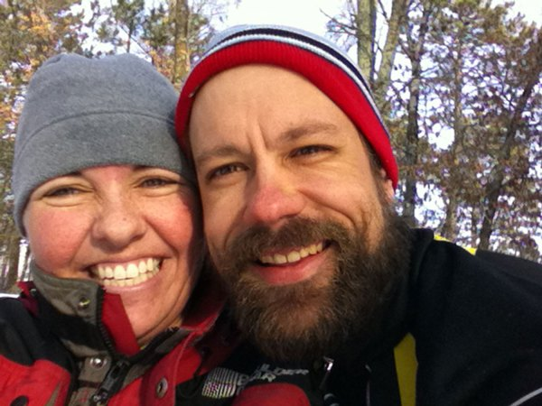 Kristine and I cross-country skiing