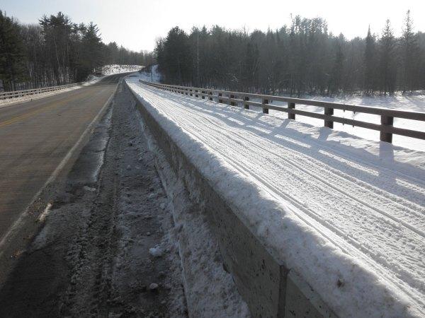 Snowmobile trail across the St Croix River bridge