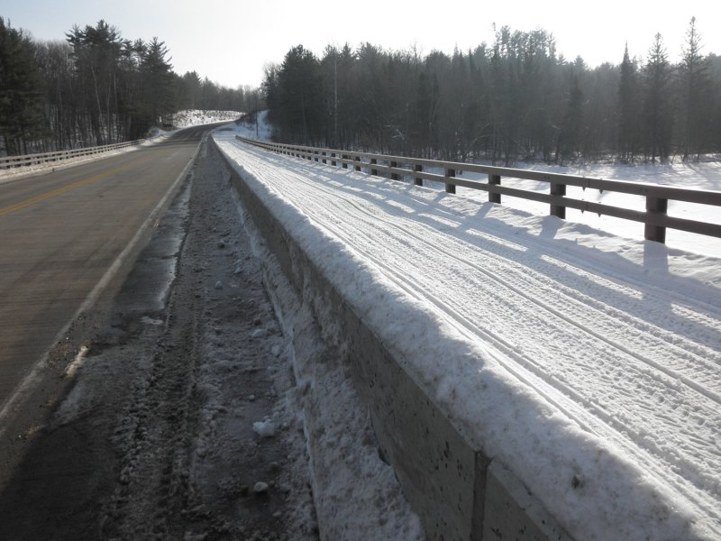 Snowmobile trail across the St Croix River bridge