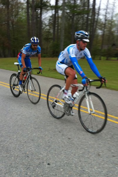 Me and Dan Holt through the feedzone on the 1st lap of our three man breakaway with Jacob Brewer just out of the frame of the picture on the right