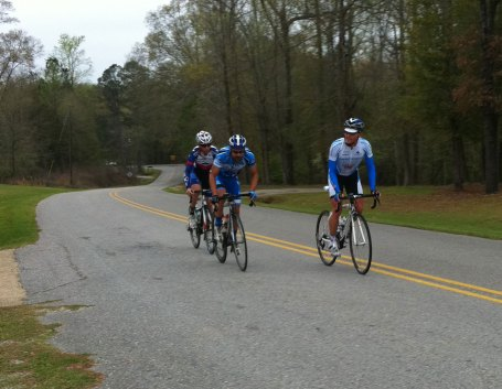 Our three-man breakaway through the feedzone