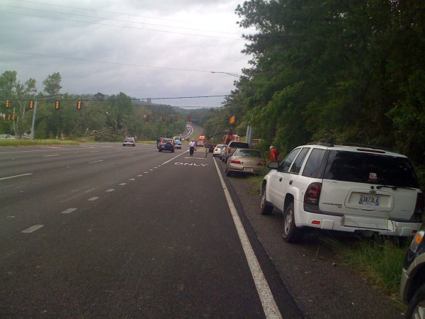 US 280 blocked by powerlines at Dolly Ridge Rd
