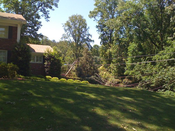 Powerlines snapped near house