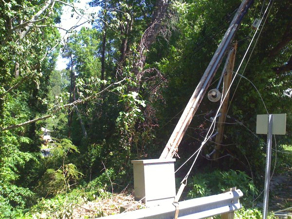 Power lines and power poles snapped