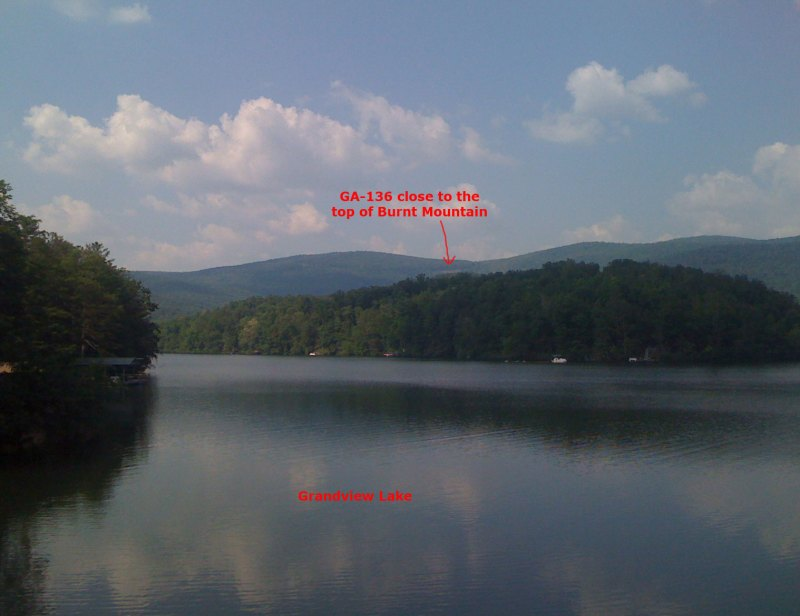 Here is the view of Burnt Mountain from Grandview Lake, which is really the start of the climb (even though there still a few rollers before the turn onto GA-136, which is just visible)