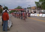 The women's pro field goes through the start/finish line about halfway through their race
