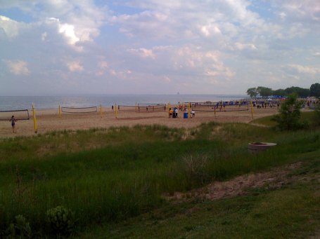 I rode down to Lake Michigan on my warm-up ... not too many people at the beach.