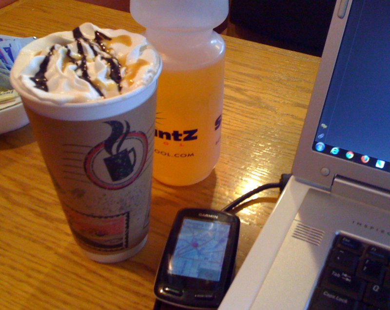 The Steaming Cup coffee shop - turtle mocha, gatorade, gps, laptop - only thing missing - no wireless internet