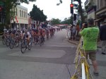The pro women go through the start/finish line