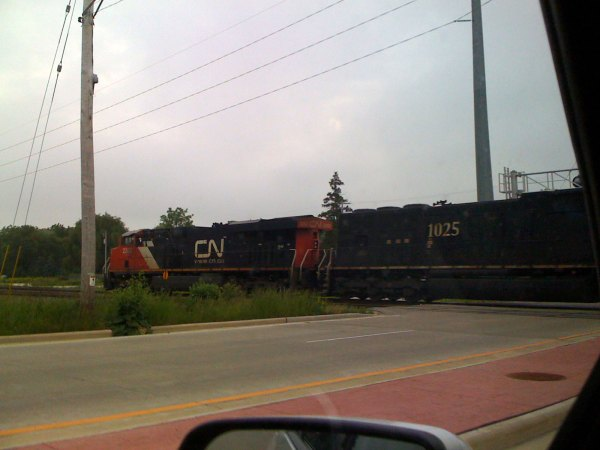 These train pics are for Josiah - this one came barreling through the intersection
