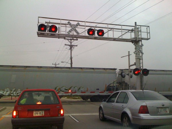 Cross gate at the railroad intersection