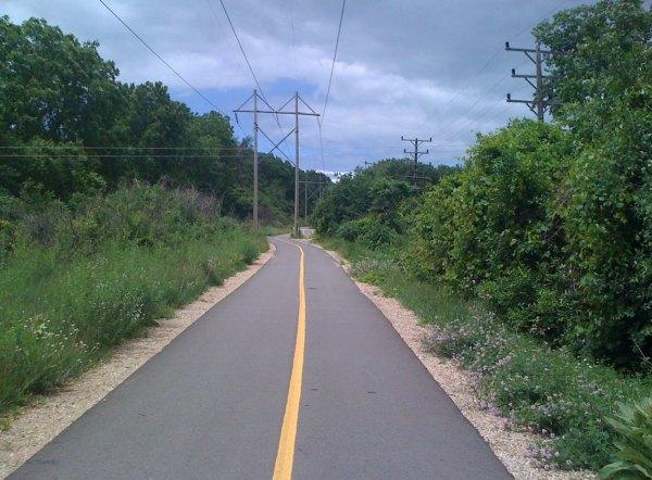 Cool non rails-to-trails bike path near Delafield