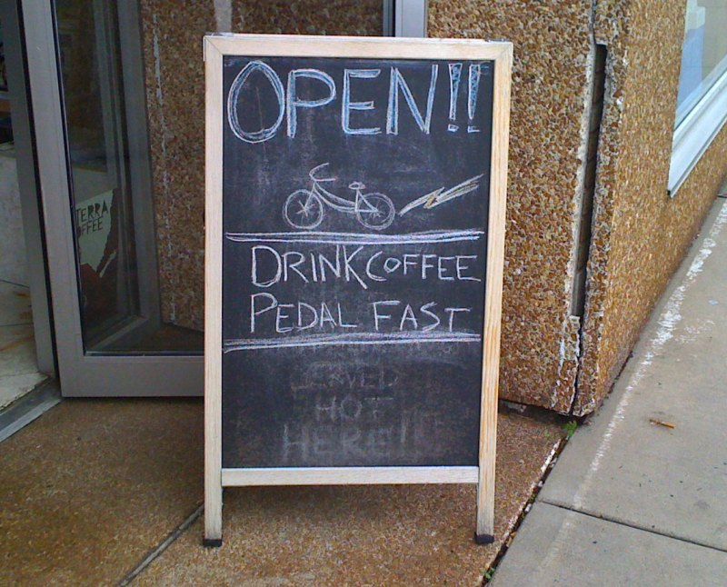 Nice coffee shop - paradigm coffee - very bike friendly