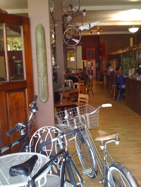 Lots of bikes in the coffee shop