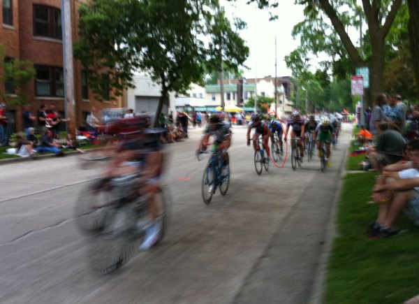 Riding towards the very front of the field mid-race