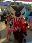 Analise and Josiah with Bucky the Badger - the UWM mascott