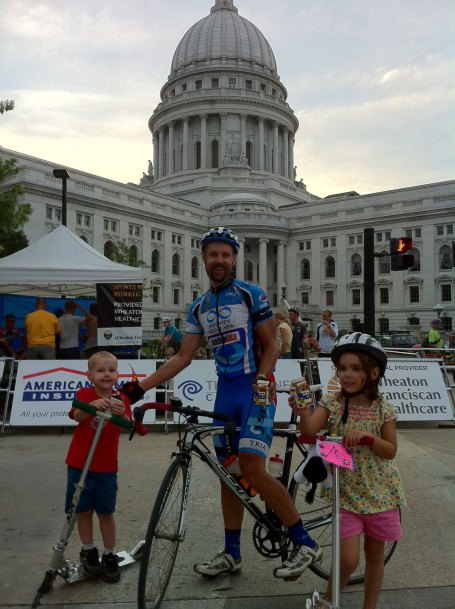 Mmmmm - chocolate milk at the finish in front of the capitol