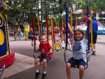 Riding the swings together