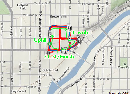 Strava map highlighting one lap of the race.