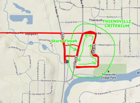 Strava map of the Thiensville criterium course