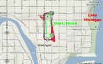 Strava map highlighting one lap of the Sheboygan Criterium
