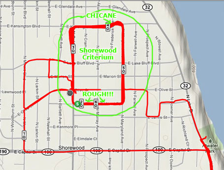 Annotated map of the race