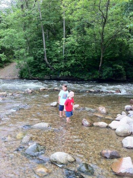 The kids wading in the Minnehaha creek in Minneapolis / St Paul