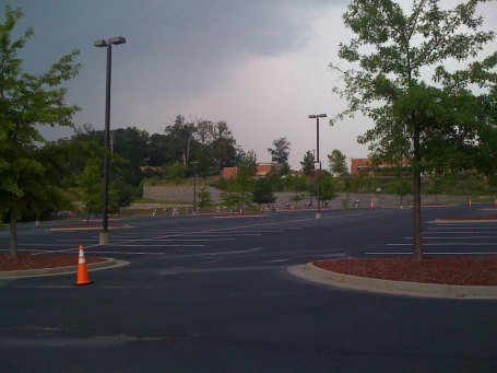 The Cat 3 field strung out at the top of the Gwinnett Center parking lot with big thunderstorm moving in.