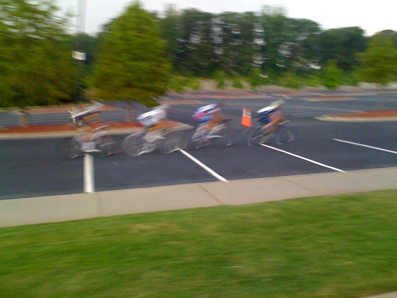 The four-man race winning break. Justin is second wheel.