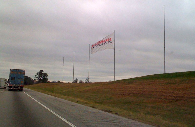 It's awesome to pass by here near race day when all six giant flags are up