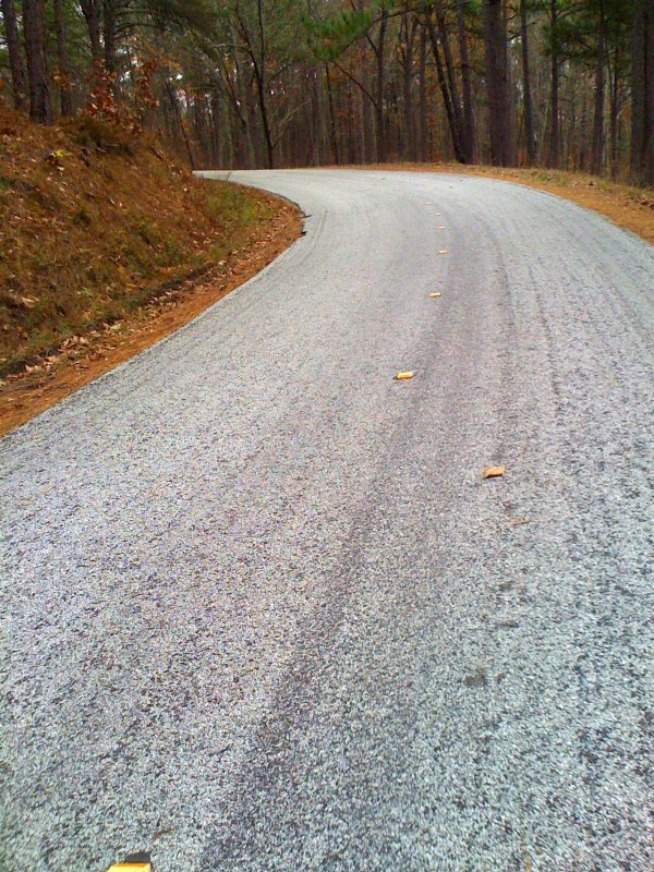 Rough road for the first 12 miles of the climb until you reach the state park entrance near Lake Cheaha