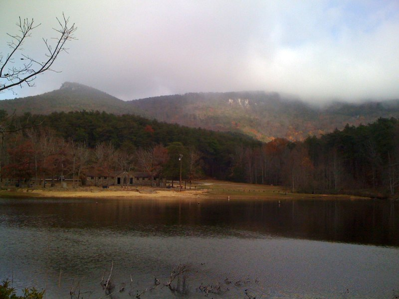 View of a cloud covered Mount Cheaha from Cheaha Lake about 1200 vertical feet below the summit