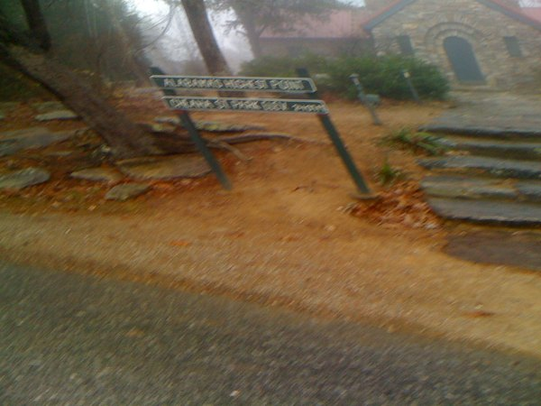 "The sign says ""Alabama's Highest Point - 2407'"""