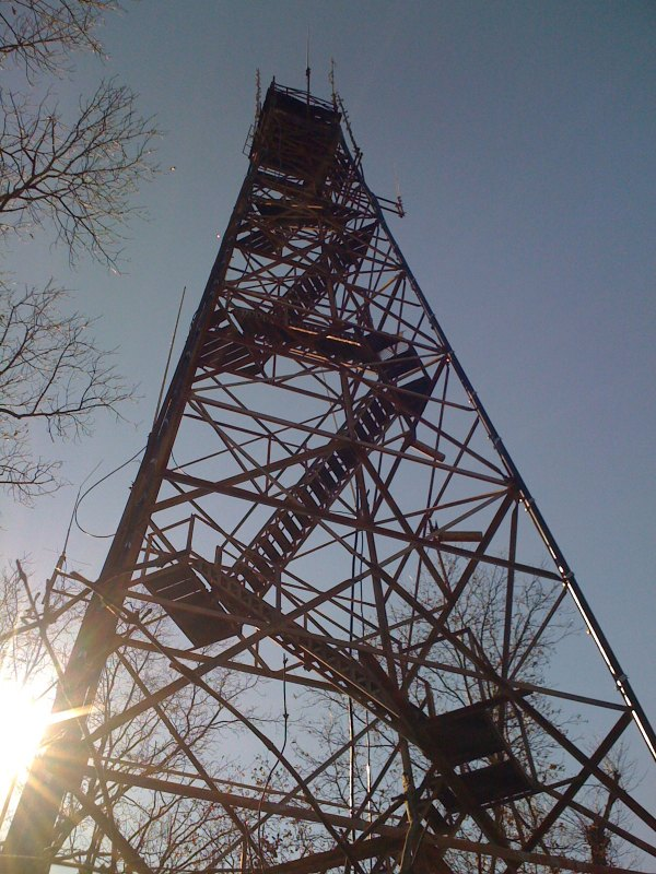Standing at the base of the lookout fire tower.