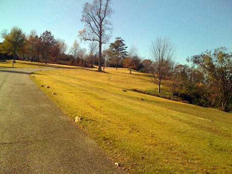 The last part of the climb up to the top of Vestavia Dr. A tornado leveled the trees here years ago, the trees that were planted have started to grow back.