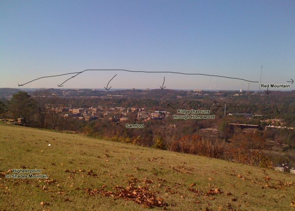 View looking northwest from Vestavia Dr towards Samford
