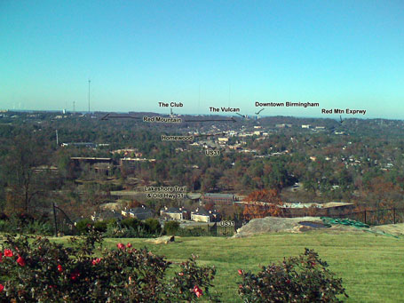 View looking north towards Homewood from Vestavia Dr