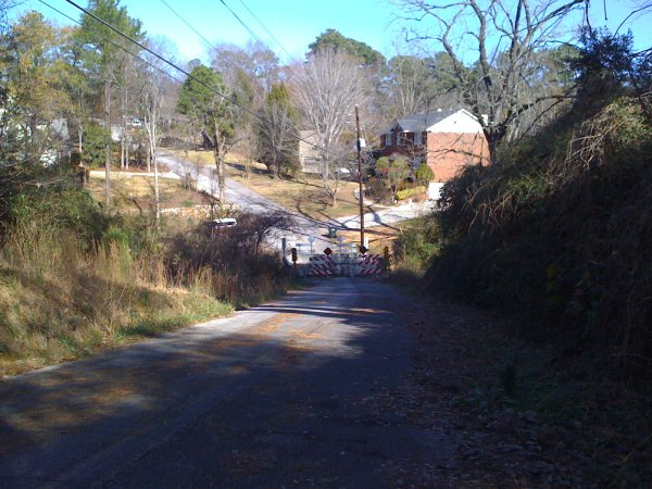 An abandoned bridge near Whole Foods in Mountain Brook - this road helps avoid a short stretch of 280 and gives you about 35 extra feet of climbing